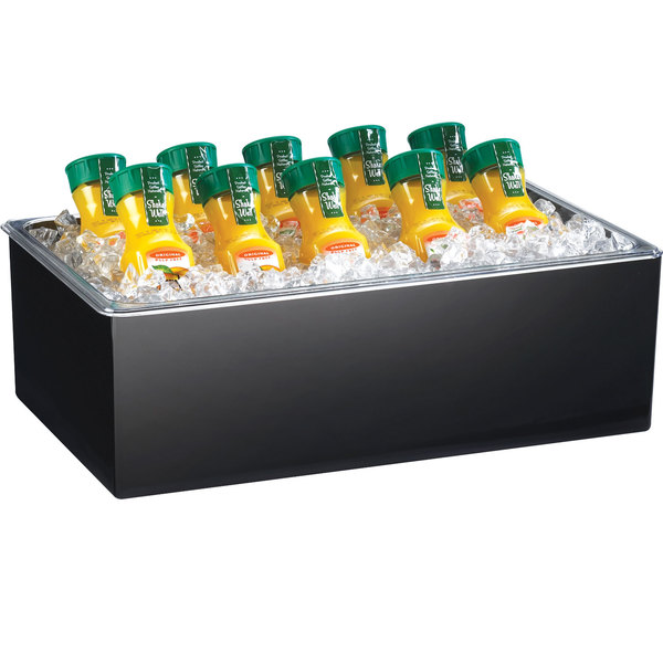 """Cal-Mil 475-10-13 Black Melamine Ice Housing with Clear Pan - 12"""" x 10"""" x 6"""""""