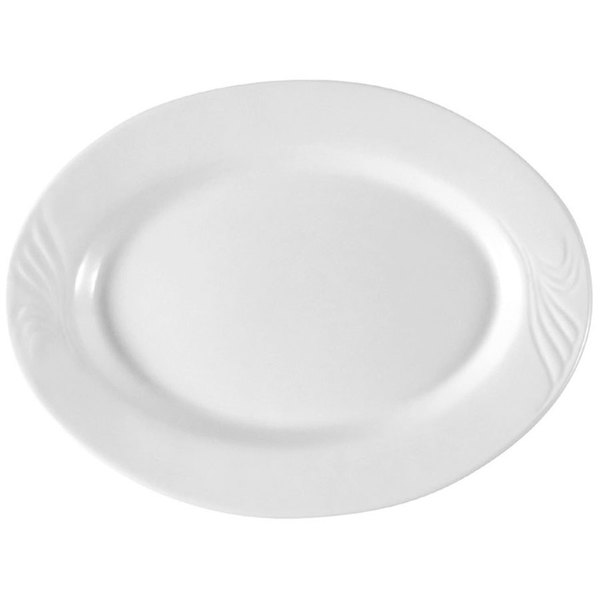 """CAC RSV-13 Roosevelt 11 3/4"""" x 8 5/8"""" Super White Oval Porcelain Platter - 12/Case Main Image 1"""