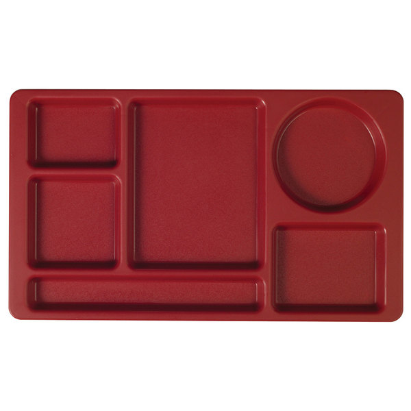 "Cambro 915CP416 (2 x 2) 8 3/4"" x 15"" Cranberry Six Compartment Serving Tray - 24/Case"