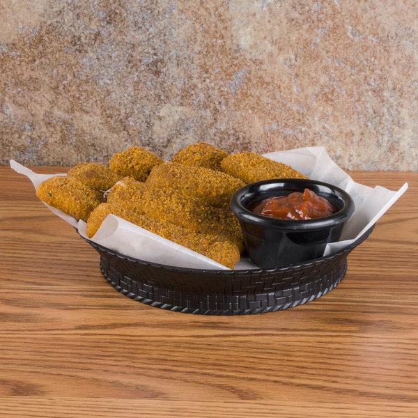 "GET RB-894 7 1/4"" Black Round Plastic Fast Food Basket with Base - 12/Pack"