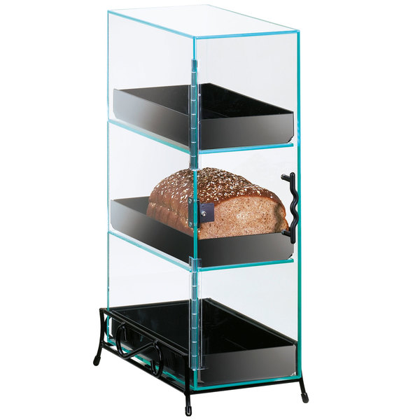 Cal-Mil 1204-13 Three Tier Bread Display Case with Black Wire Base Main Image 1