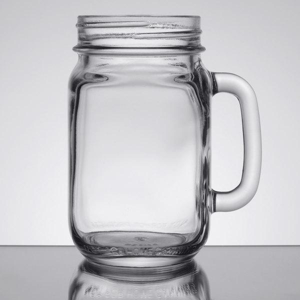 Libbey 97084 16 oz. Drinking Jar / Mason Jar with Handle - 12/Case