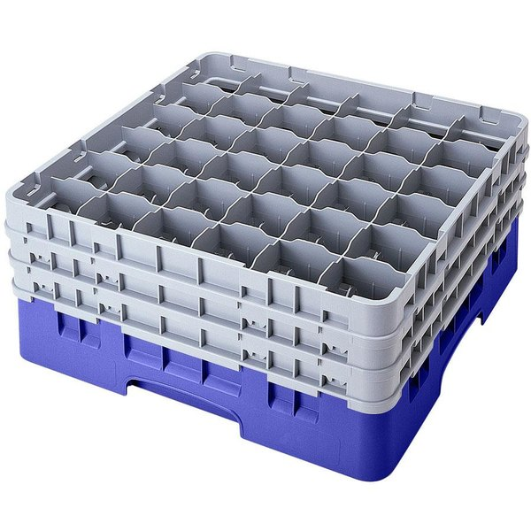 "Cambro 36S434168 Blue Camrack Customizable 36 Compartment 5 1/4"" Glass Rack"