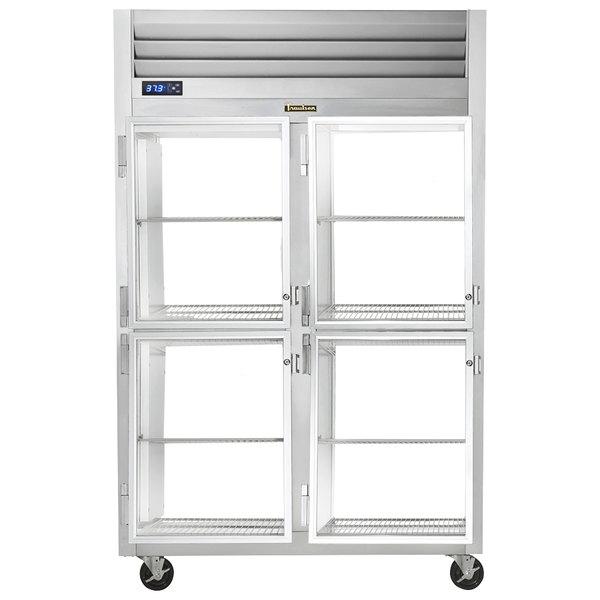 Traulsen G21005P 2 Section Glass Half Door Pass-Through Refrigerator - Left / Left Hinged Doors Main Image 1