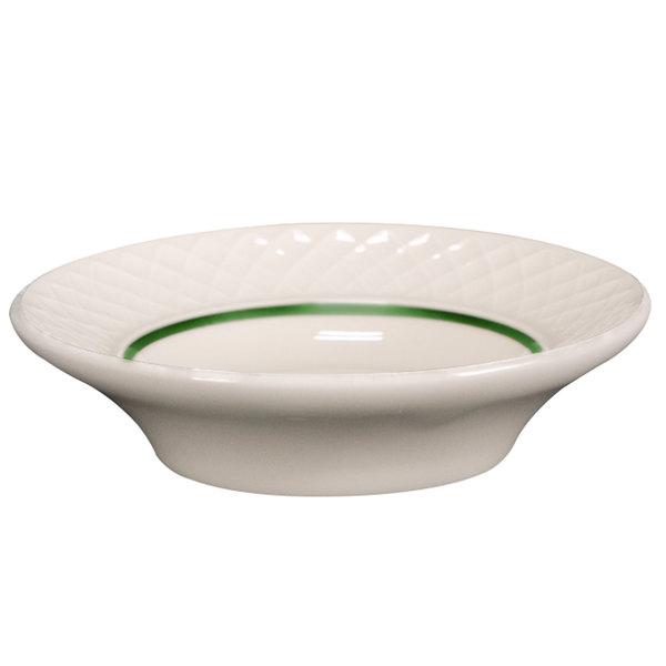 Homer Laughlin 1430-0354 Green Jade Gothic 2 oz. Off White Fruit / Monkey Dish - 36/Case