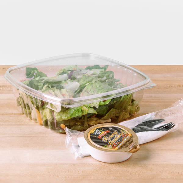 D&W Fine Pack VH48P VersaPak 48 oz. Recyclable Hinged Take Out Deli Container - 120/Case