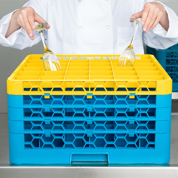 Carlisle RG36-4C411 OptiClean 36 Compartment Yellow Color-Coded Glass Rack with 4 Extenders