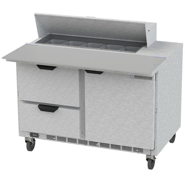 "Beverage Air SPED48HC-10C-2 48"" 1 Door 2 Drawer Cutting Top Refrigerated Sandwich Prep Table with 17"" Wide Cutting Board"