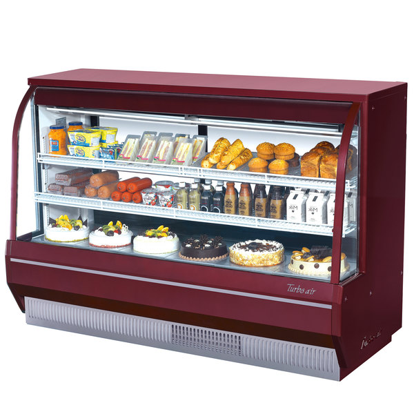 "Turbo Air TCDD-72-2-H 72"" Red Curved Glass Refrigerated Deli Case"