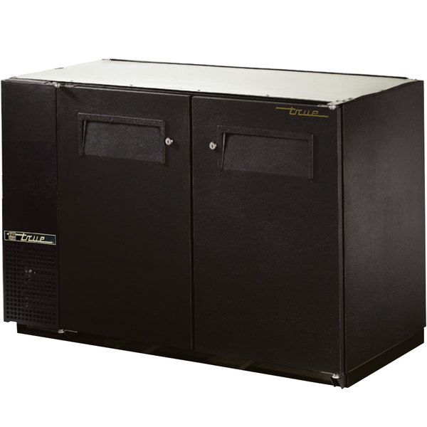 """True TBB-24GAL-48 48"""" Black Narrow Under Bar Refrigerator with Galvanized Top and Two Solid Doors"""
