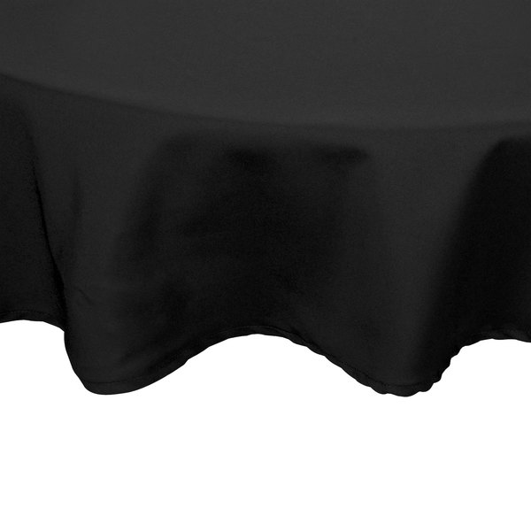 132 inch Round Black 100% Polyester Hemmed Cloth Table Cover