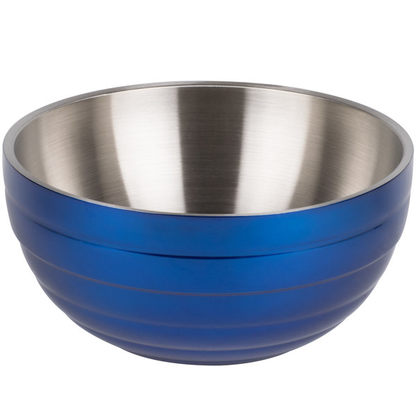 Vollrath 4659225 Double Wall Round Beehive 6.9 Qt. Serving Bowl - Cobalt Blue