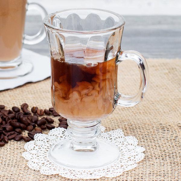 24//Cs 8.25 Oz Irish Glass Coffee Mug Libbey 5294 Optic Design