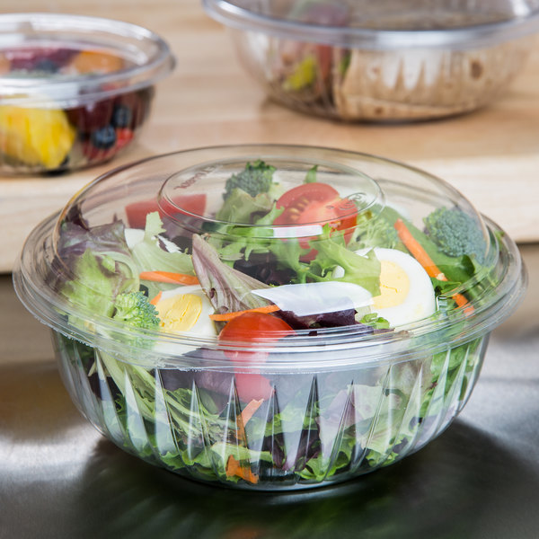 Dart PET32BCD PresentaBowls 32 oz. Clear Plastic Bowl with Dome Lid - 126/Case Main Image 4