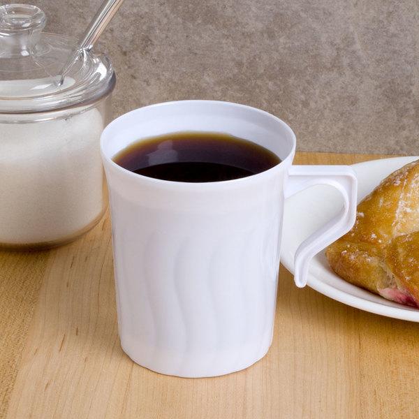 Fineline Flairware White 208-WH 8 oz. Plastic Coffee Mug - 8/Pack Main Image 4
