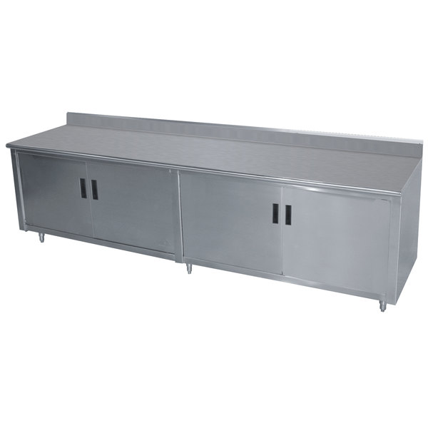 """Advance Tabco HK-SS-369M 36"""" x 108"""" 14 Gauge Enclosed Base Stainless Steel Work Table with Fixed Midshelf and 5"""" Backsplash"""