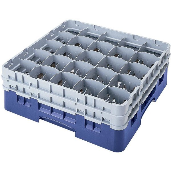 "Cambro 25S638168 Camrack 6 7/8"" High Customizable Blue 25 Compartment Glass Rack"