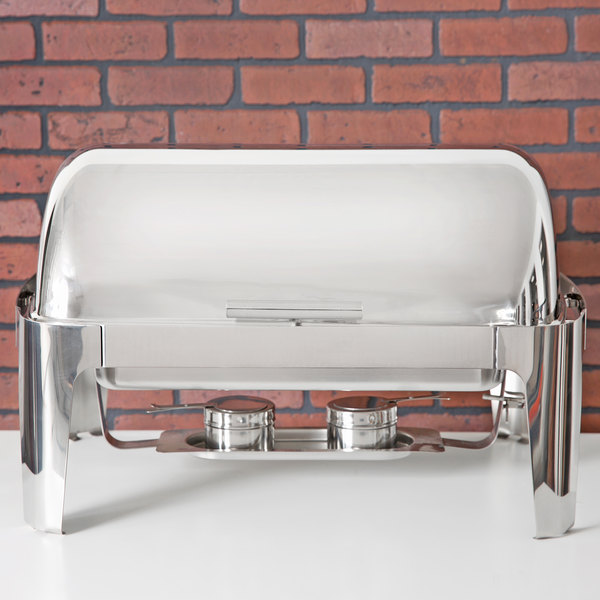 Choice Supreme 8 Qt. Full Size Roll Top Chrome Trim Chafer Scratch and Dent