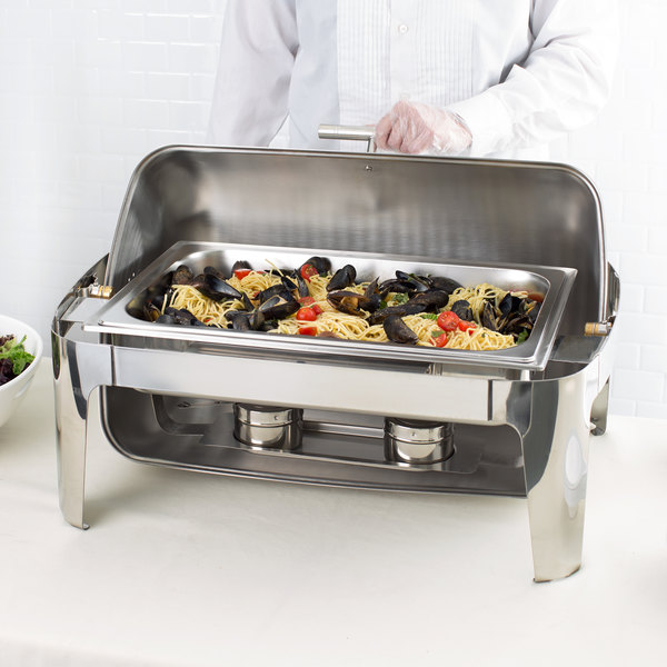Roll Top SUPREME Full Size 8 Qt Stainless Steel Buffet Chafer Chafing Dish Set