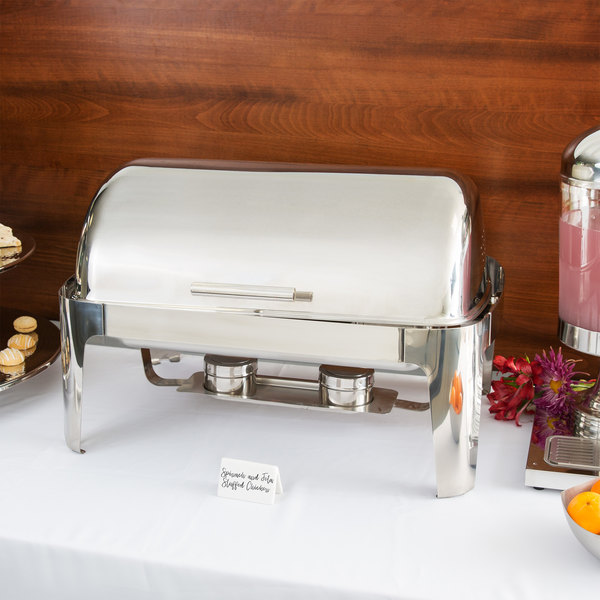 Choice Supreme 8 Qt. Full Size Chrome Accent Roll Top Chafer Main Image 4
