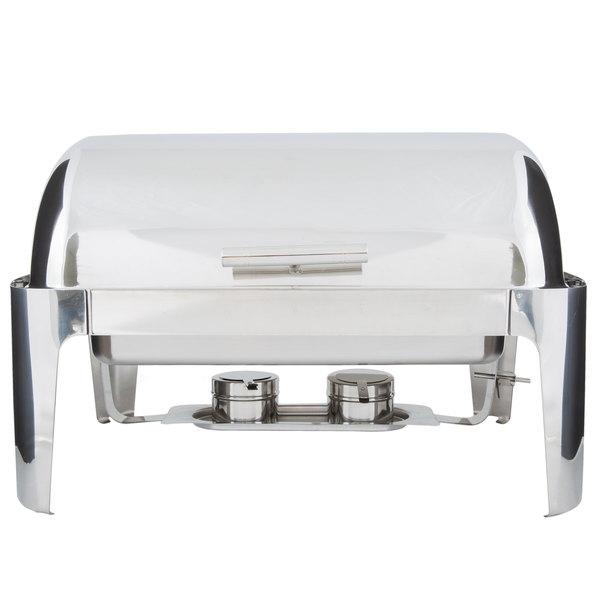 Choice Supreme 8 Qt. Full Size Roll Top Chrome Trim Chafer