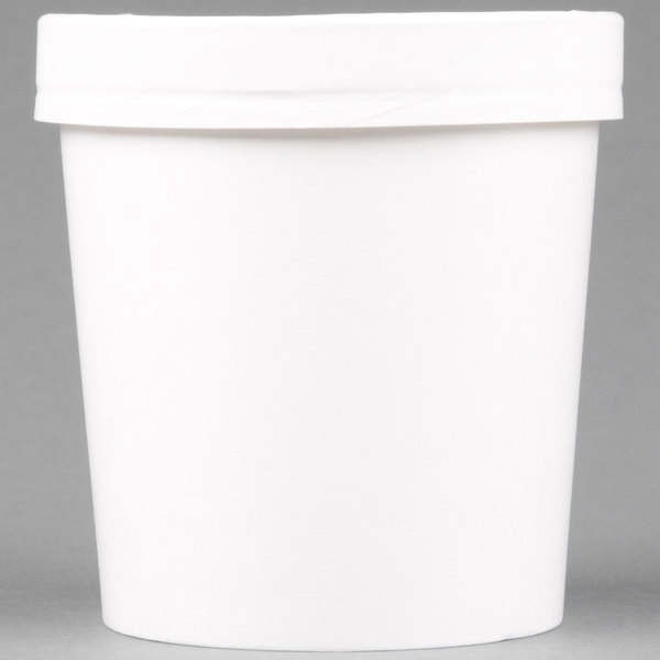 Huhtamaki Chinet 71844 White 16 oz. Double-Wall Poly Paper Soup / Hot Food Cup with Vented Paper Lid - 250/Case