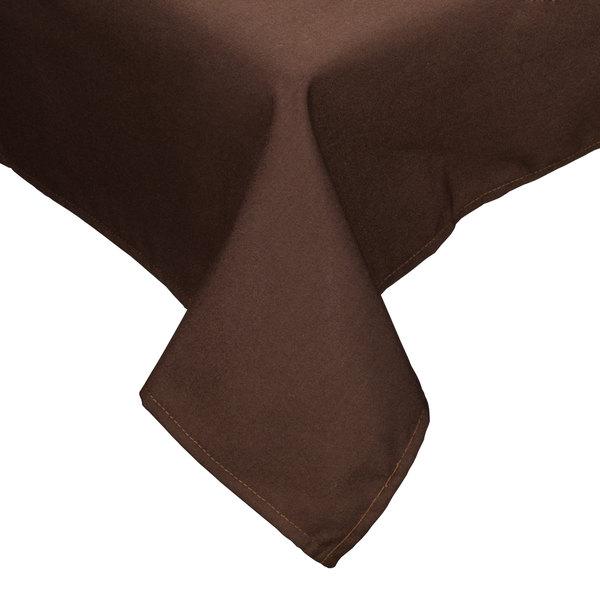 "64"" x 110"" Brown Hemmed Polyspun Cloth Table Cover"