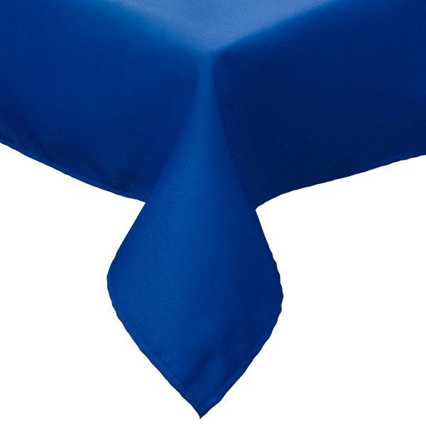 "64"" x 110"" Royal Blue Hemmed Polyspun Cloth Table Cover"