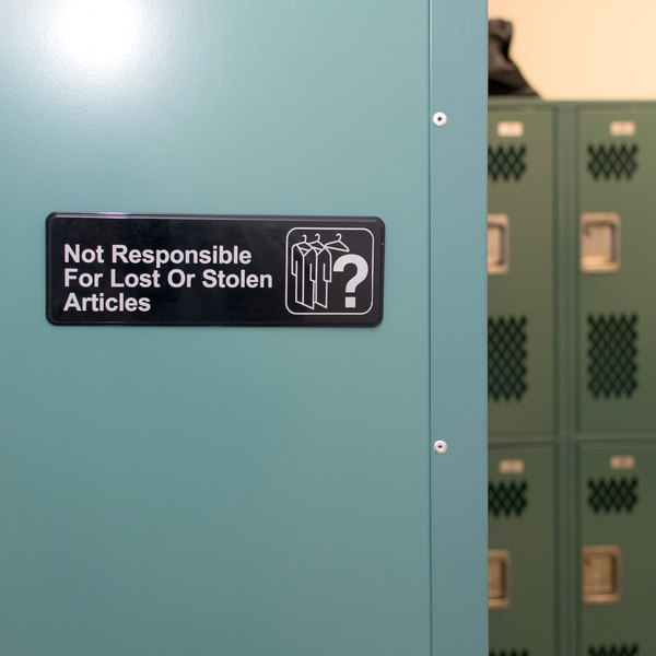 """Not Responsible for Lost or Stolen Articles Sign - Black and White, 9"""" x 3"""""""