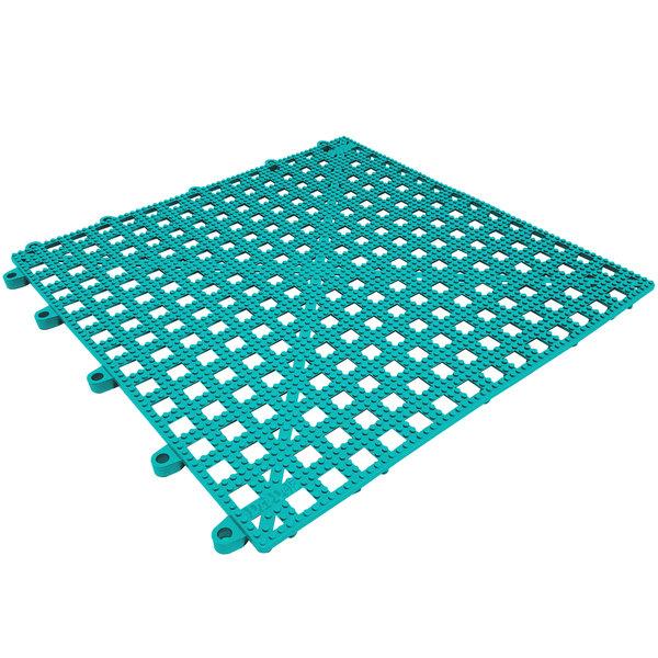 "Cactus Mat 2554-TLT Dri-Dek Teal 12"" x 12"" Vinyl Slip-Resistant Interlocking Drainage Floor Tile - 9/16"" Thick"