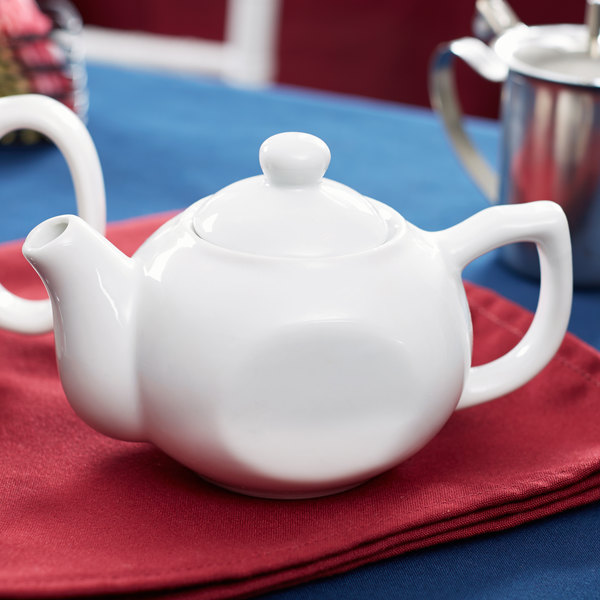 Core 10 oz. White China Teapot with Lid