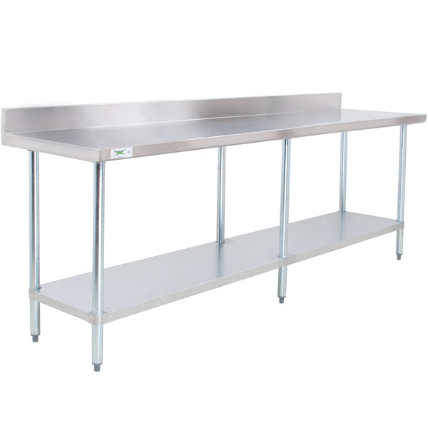 Regency 30 inch x 96 inch 18-Gauge 304 Stainless Steel Commercial Work Table with 4 inch Backsplash and Galvanized Undershelf