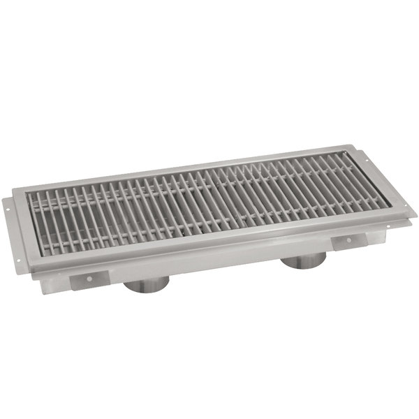 """Advance Tabco FTG-2496 24"""" x 96"""" Floor Trough with Stainless Steel Grating"""