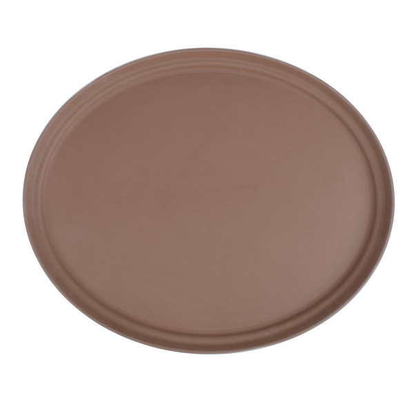 "27"" Brown Oval Fiberglass Non-Skid Serving Tray Main Image 1"