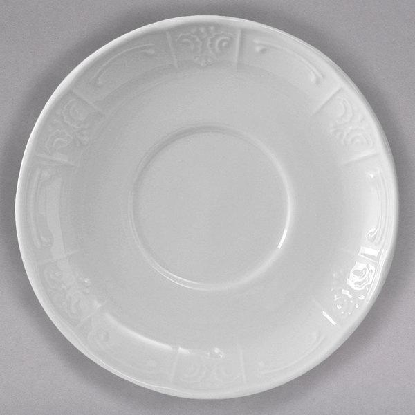 Tuxton CHE-062 Chicago 6 3/8  Bright White China Soup Mug Saucer - 36/Case & Tuxton CHE-062 Chicago 6 3/8