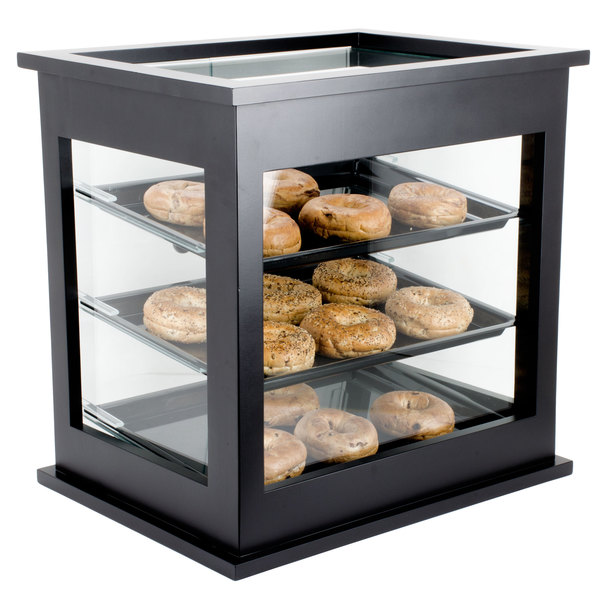 "Cal-Mil 284-96 Three Tier Midnight Bamboo Display Case with Rear Door - 21"" x 16 1/4"" x 22 1/2"" Main Image 3"