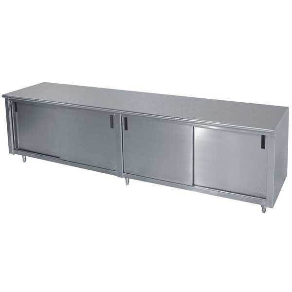 """Advance Tabco CB-SS-3010M 30"""" x 120"""" 14 Gauge Work Table with Cabinet Base and Mid Shelf"""