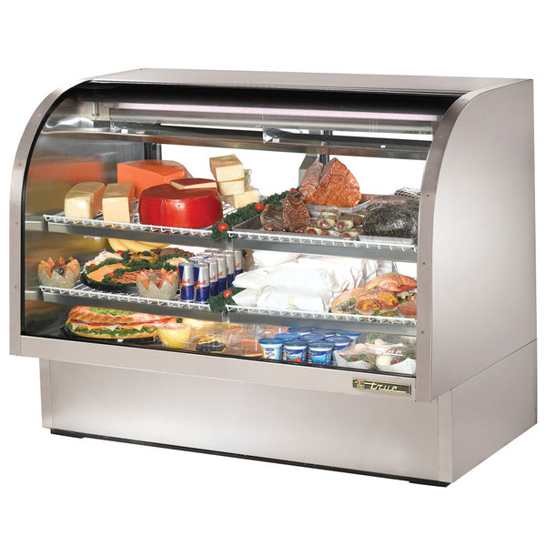 """True TCGG-60-S-LD 60"""" Stainless Steel Curved Glass Refrigerated Deli Case"""