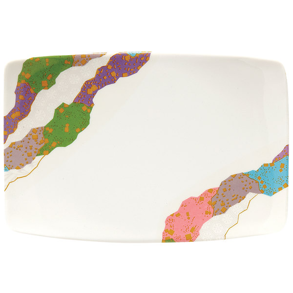 "GET 141-CO 6 3/4"" x 4 1/2"" Contemporary Melamine Bowed Rectangle Plate - 12/Pack"