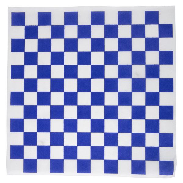 """Choice 12"""" x 12"""" Blue Check Deli Sandwich Wrap Paper - 1000/Pack"""