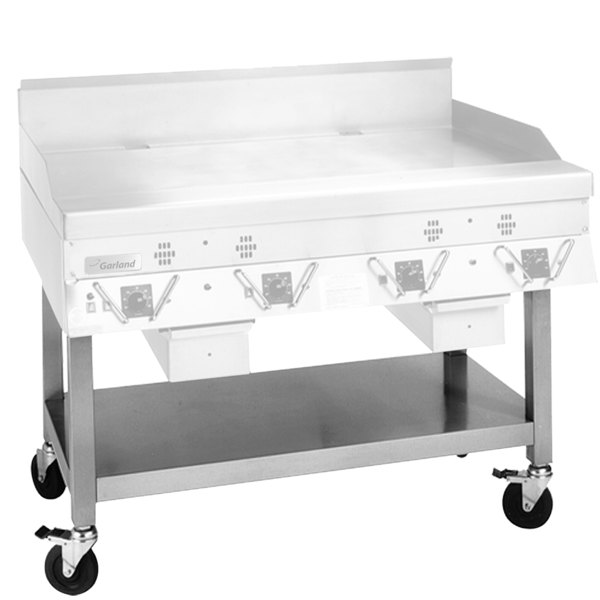 Garland SCG-48SSC Stainless Steel Equipment Stand with Undershelf and Casters for CG-48R and ECG-48R Griddles Main Image 1