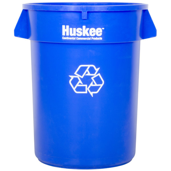 Continental 3200-1 Huskee 32 Gallon Round Blue Recycling Bin