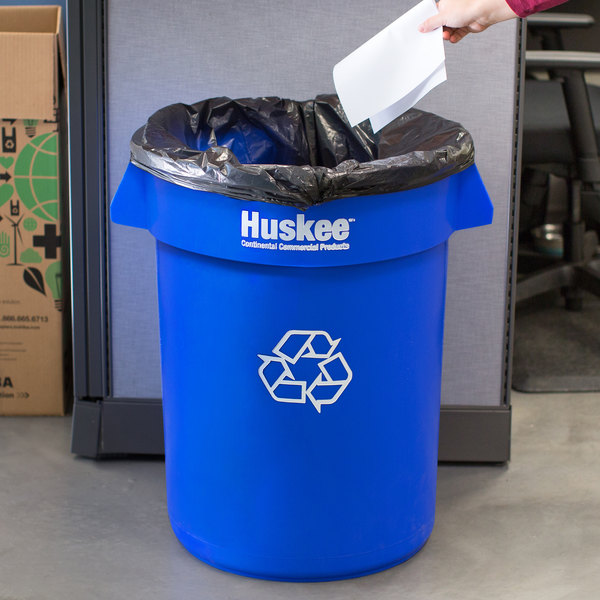 Continental 3200-1 Huskee 32 Gallon Blue Recycling Bin Main Image 7