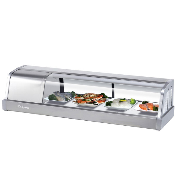 """Turbo Air SAK50L-N 50"""" Stainless Steel Curved Glass Refrigerated Sushi Case - Left Side Compressor"""
