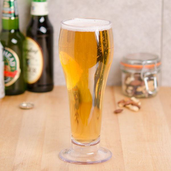 GET SW-1417-1-SAN-CL 22 oz. Customizable SAN Plastic Footed Pilsner Glass - 24/Case Main Image 2