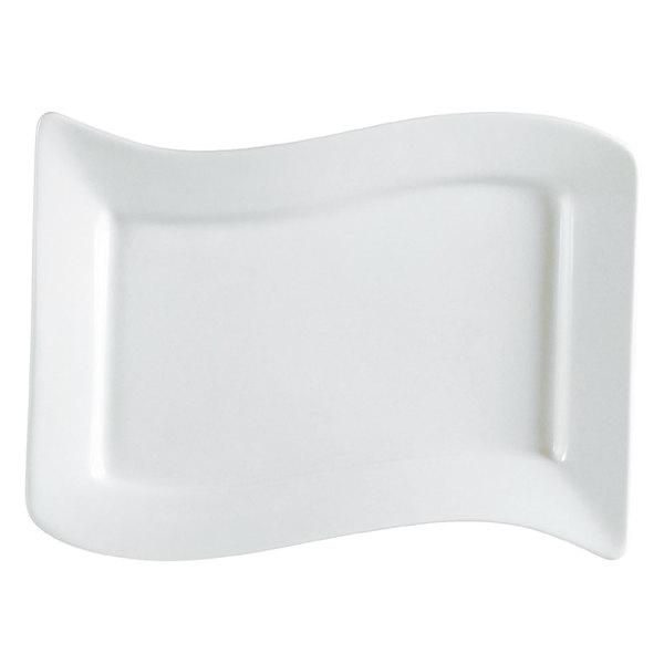 "CAC SOH-51 Soho 15 1/2"" x 10 1/2"" Ivory (American White) Rectangular Stoneware Platter - 12/Case"