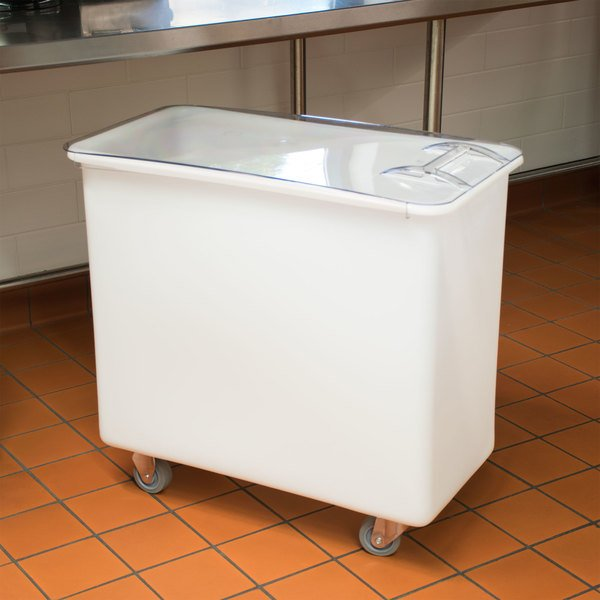 Cambro IB36148 34 Gallon / 540 Cup White Flat Top Mobile Ingredient Storage Bin with Sliding Lid