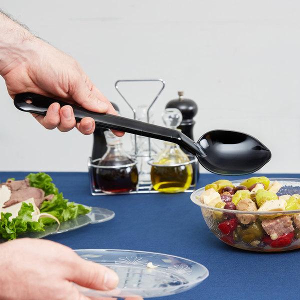 "Carlisle 442003 13"" Black Solid Salad Bar / Buffet Spoon"