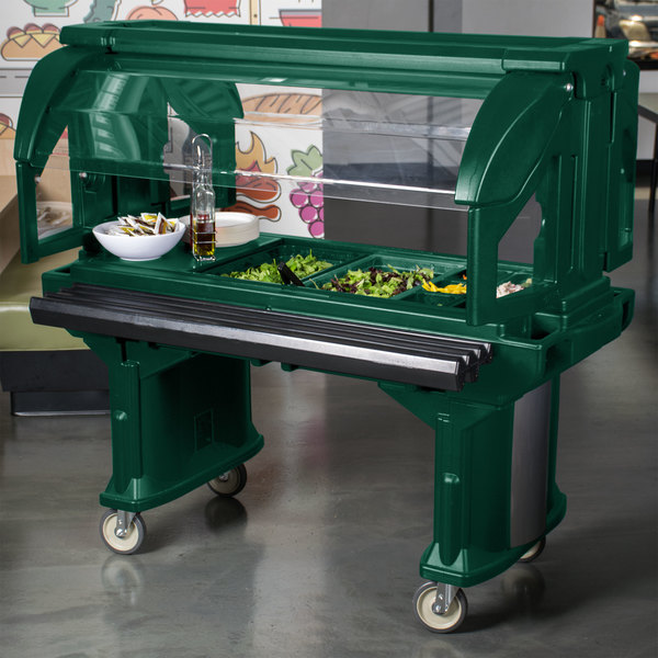 Cambro VBR5519 Green 5' Versa Food / Salad Bar with Standard Casters Main Image 6