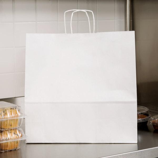 "Duro Debonair White Paper Shopping Bag with Handles 16"" x 6"" x 16"" - 200/Bundle"